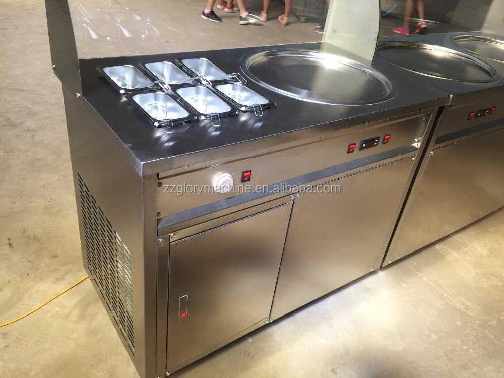 2016 Aprovado Pela CE Fonte Da Fábrica Duplo Comercial Plana Pan Frito Máquina de Sorvete, tailândia Fry Máquina de Sorvete