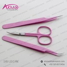 Attractive Shiny Pink Tweezers & Scissors for Lash Extensions/ Straight & Curved Pointed Tweezers/ Volume Tweezers