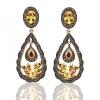 Huggie Earring Ruby and Diamonds 925 Silver Earrings