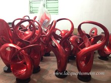 Red metallic lacquer abstract sculpture, high quality- http://lacquerhomevn.com/