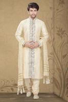 Cream color Art Silk Men`S Wear Kurta Churidar