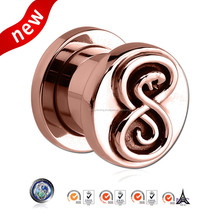 Wholesale Jewelry Piercing New 2015 Pvd Rose Gold Stainless Steel Threaded Tunnel