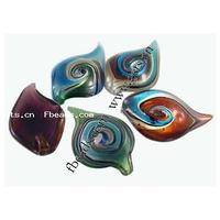 Handmade Lampwork Pendants mixed & silver foil & gold foil 45-48x28-30mm Hole:Approx 4mm 50PCs/Lot Sold By Lot