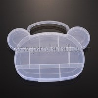 11 Compartments Cartoon Bear Head Shaped Plastic Bead Containers, Clear, 163x197x26mm CON-O001-02