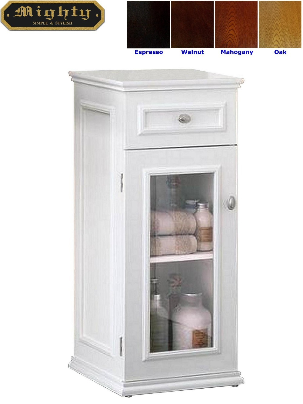 No tools assembly white one drawer glass door bathroom standing floor cabinet buy white for Bathroom floor cabinet with drawer