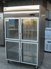 Locked double chiller commercial refrigerator curved glass door freezer