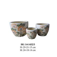 Flower planter with ceramic pot for garden (HG 14-1432/3)