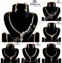 Wholesale american diamond jewelry-Cubic zircon bridal jewellery-Party wear delicate necklace set 2015