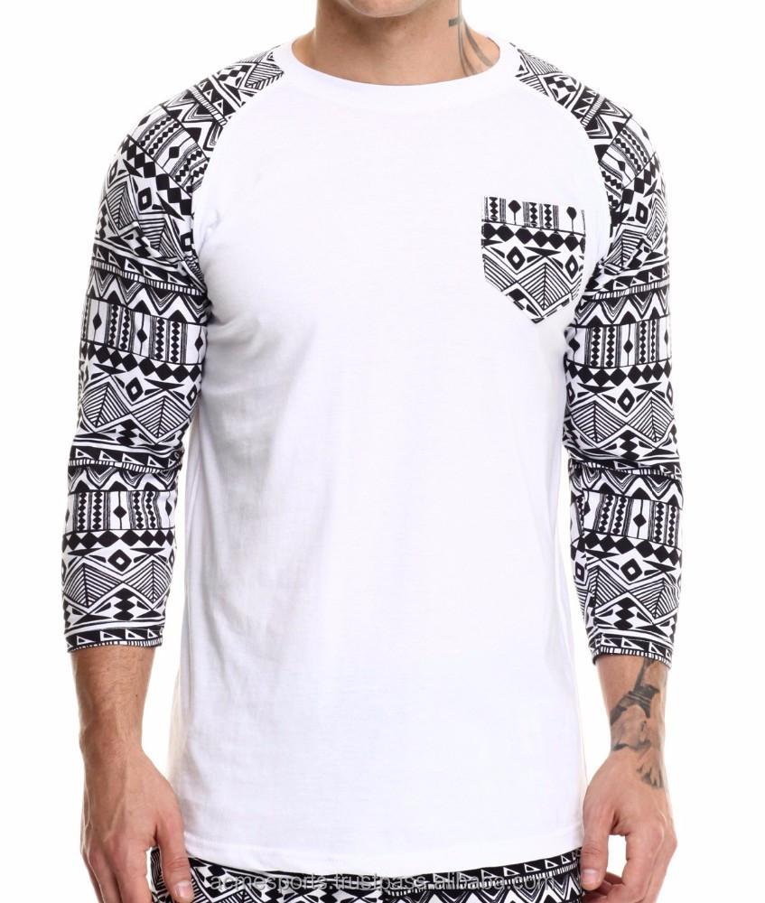 Casual style mens wholesale pocket raglan fashion t shirt for Bulk pocket t shirts