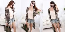 2015 new fashion print women long sleeve chiffon blouse,factory clothing wholesale