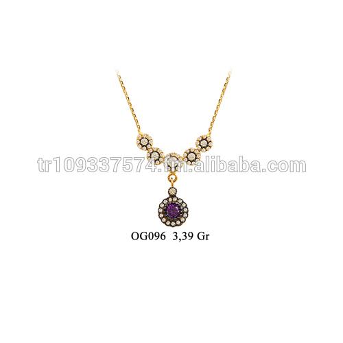 14 K oro macizo otomana de la gota de rubíes del collar del encanto