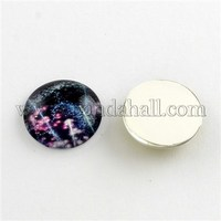 Galaxy Starry Sky Pattern Flatback Half Round Dome Glass Cabochons for DIY Projects, Violet, 18x5mm GGLA-R026-18mm-18H
