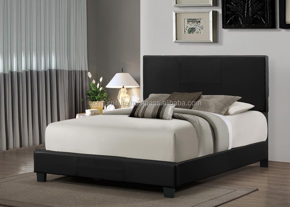 Simple design blank headboard faux leather bed double for Simple headboard design