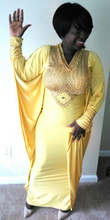 Sexy Gold Abaya With Rhine Stone