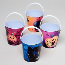 PAIL METAL HALLOWEEN SMALL ROUND W/HANDLE 4ASST DESIGNS #89005P