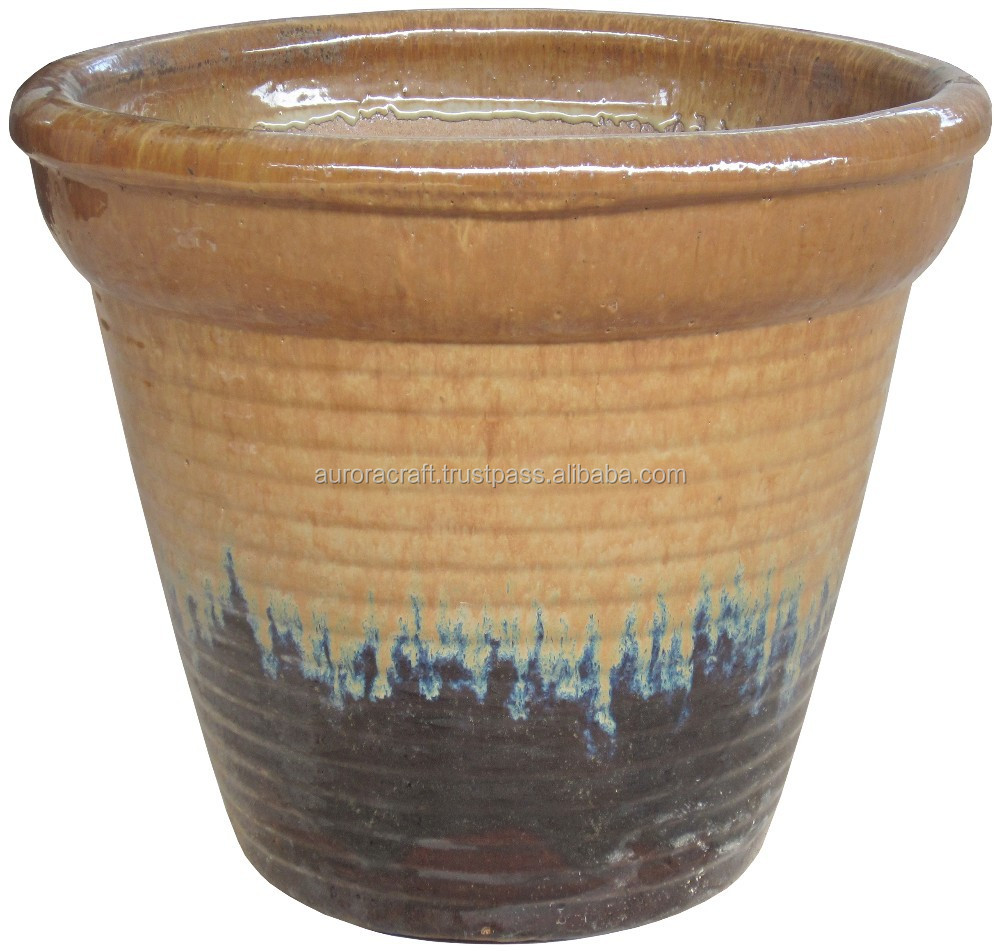 Large glazed ceramic planter large glazed ceramic garden for Outdoor ceramic planters