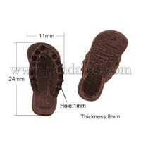 Tibetan Style Findings, Lead Free & Nickel Free, Shoes, Red Copper, 24x11x8mm, Hole: 1mm TIBE-A21142-R-FF