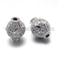 CZ Brass Micro Pave Cubic Zirconia Vase Beads, Lead Free & Cadmium Free, Platinum, 13x10mm, Hole: 1mm ZIRC-O001-70-RS