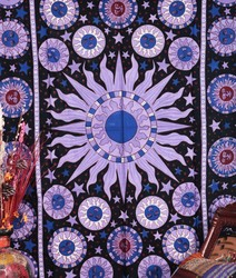 Celestial Sun Moon Stars Planet Tapestry Indian Hippie Wall Hanging Bohemian Psychedelic Bedspread Mandala Cotton Beach Blanket