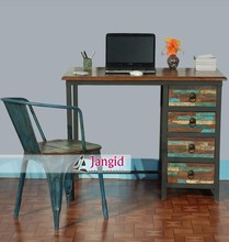industrial iron and reclaimed wooden study table cum computer table