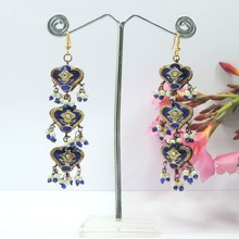 Wholesale Traditional Designer 3 Story Blue Crysta Lakh Earrings