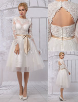 Knee Length Lace Illusion Neckline Long Sleeves Back Keyhole Wedding Dress With Satin Sash