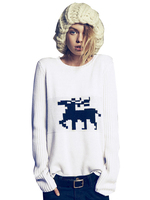 Color Block Style Animal Pattern Soft Sweater