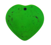 Turquoise Pendant Heart painted fluorescent mixed colors x36x10mm Hole:Appr 2mm 20PCs/Bag Sold By Bag