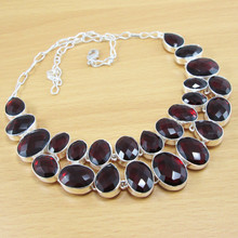 Wholesale Jewelry!! Faceted Garnet 925 Sterling Silver Coated 88g Gemstone Handmade Necklace!!