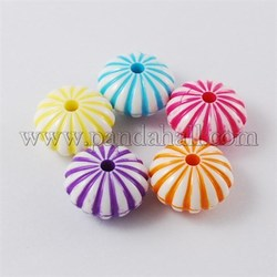 Colorful Acrylic Beads, Craft Style, Pumpkin, Mixed Color, 14x8mm, Hole: 2mm