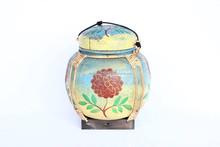 Large Hand Painted Thai Rice Box Vintage Style