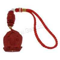 Buddhist Hanging Decoration Cinnabar with & Nylon Cord & Glass Carved Buddhist jewelry & om mani padme & gold foil 40x52x13mm 1