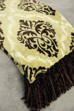 """Solid/Printed Skinny Fringe Flannel Throw/Blanket, flannel with tassels, decorative use,260gsm/280gsm, 50""""X60""""Fabric+2X5"""" Fringe"""