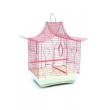 Pet Bird Painted Villa Shaped Wire Cage