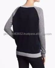 Women 3/4 sleeve blank cotton raglan baseball t shirt wholesale