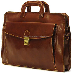 Luxury Brown Genuine Leather Laptop Bag
