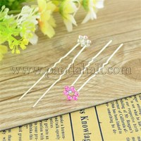 Bridal Party Wedding Decorative Hair Accessories Silver Color Iron Rhinestone Flower Hair Forks For Lady PHAR-S171-04