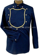 Navy Blue Cotton with Yellow Shield Front Shirt