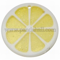 Hawaii Lemon Slice Resin Glitter Powder Pendants, Flat Round, Yellow, Size: about 34mm in diameter, 4mm thick, hole: 2mm