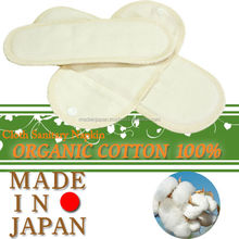 Washable handmade cloth menstrual pads made from organic cotton