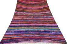 "Handmade Multicolour Rag Floor Mat Hand Woven Runner Recycled Cotton Chindi Rug 55"" X 42"""