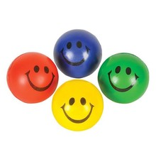 """2.5"""" ASSORTED COLORS SMILEY FACE STRESS BALL"""