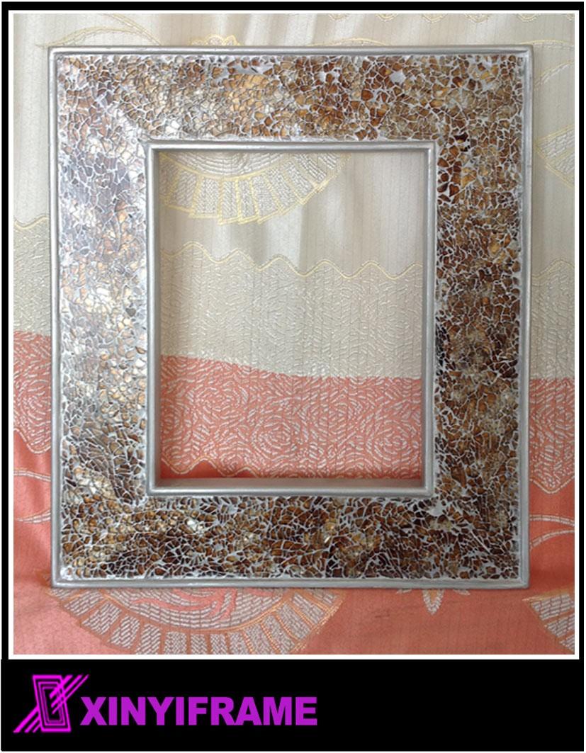 ronde crackle mur miroir la main cass mosa que de verre argent cadre 40x40 cm nouveau miroir. Black Bedroom Furniture Sets. Home Design Ideas