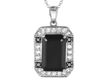 Emerald Cut And Round Black Spinel With Round White Topaz Sir Pendant, Chidrens Silver Jewelry, Silver Jewelry USA, Silver