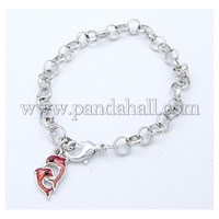Iron Bracelets, with Brass Lobster Clasp and Alloy Enamel Pendant, Two Dolphins, Platinum Color BJEW-Q111-N