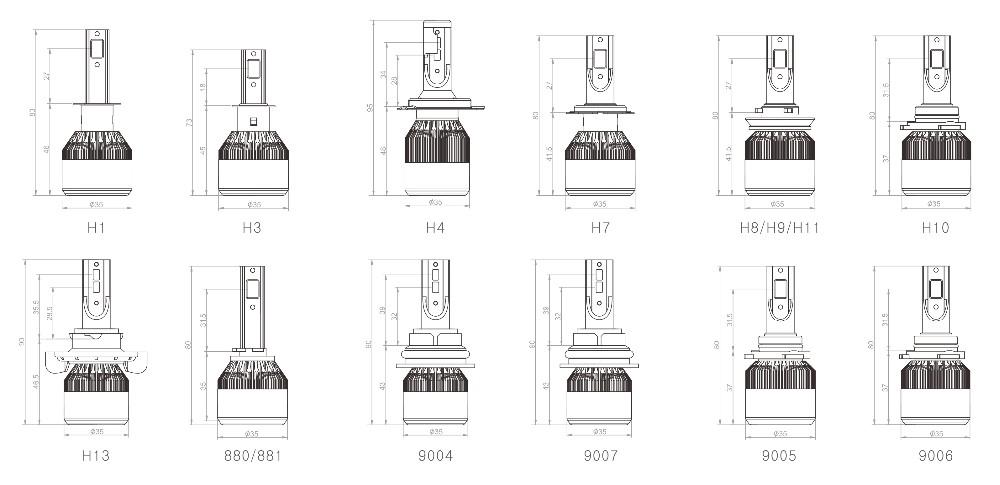 slim size high power cob 36w 3800lumen h1 h3 h7 h8 h9 h11 c6 entry model car led headlight kit