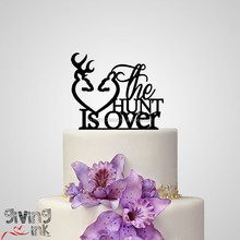 "For resale Hunting Cake Topper-Buck and Doe Heart-Rustic Wedding Deer Cake Toppers for Sportsman Theme Wedding ""The Hunt Is Over"