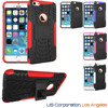 5 Colors Dual Layer Tire Pattern Tough Hybrid Rugged Rubber with KickStand Case Cover for iPhone 6 USA, Los Angeles Wholesale