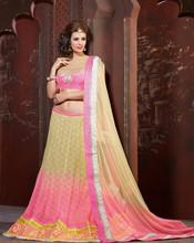 Classic Cream, Pink color Net Lehenga Choli