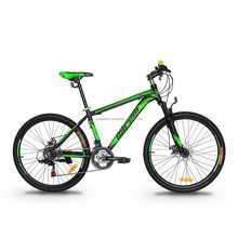 "GARION 26"" Alloy MTB Bike Mountain Bike with Disc Brake 21 Speed Matte Black with Green"